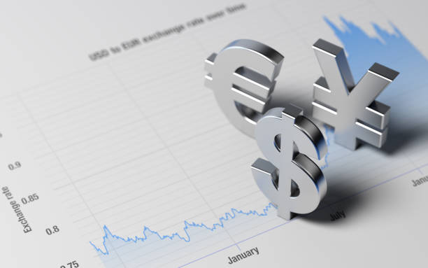 USD Yen Euro Signs on A Blue Financial Graph stock photo