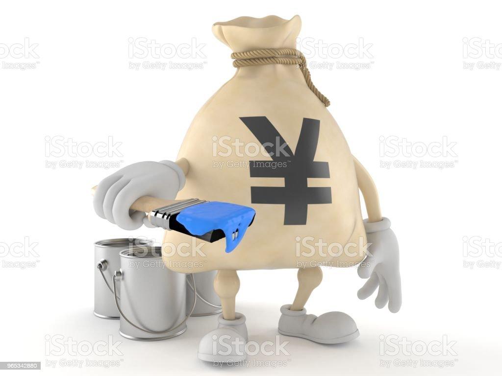 Yen d'argent sac caractère holding pinceau - Photo de Amélioration libre de droits