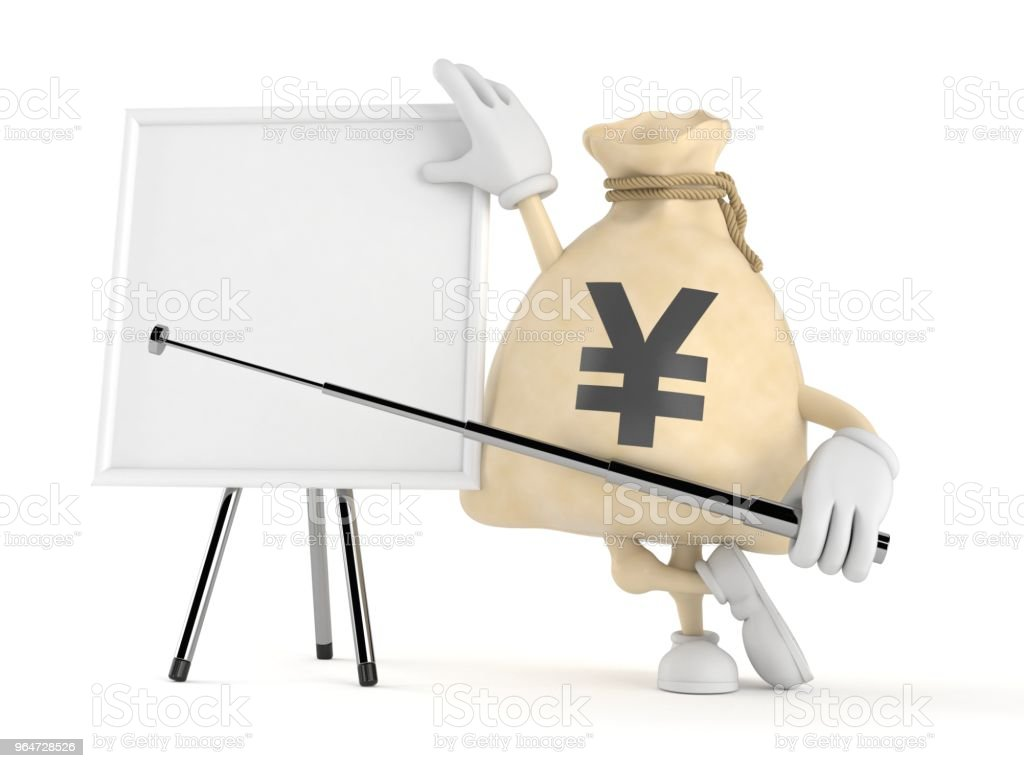 Yen money bag character with blank whiteboard royalty-free stock photo