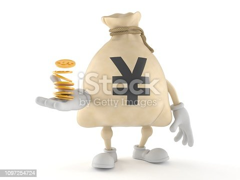 872222012istockphoto Yen money bag character with stack of coins 1097254724