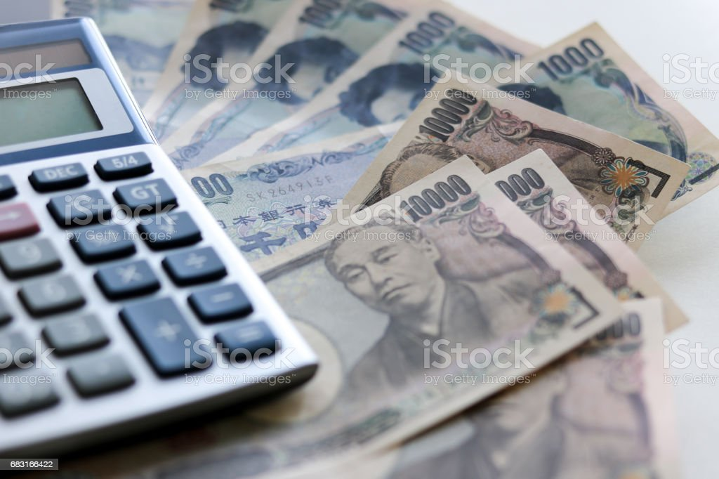 yen notes  money concept background Closeup of Japanese currency yen bank royalty-free 스톡 사진