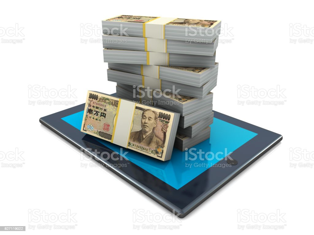Yens on Tablet PC stock photo