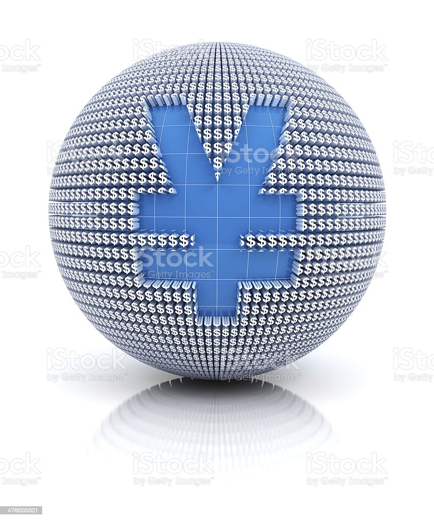 Yen or RMB icon on globe formed by dollar sign royalty-free stock photo