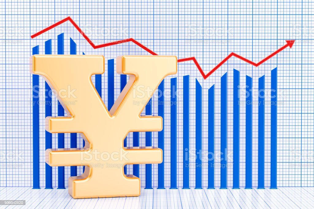 Yen or yuan symbol with growing chart. 3D rendering stock photo