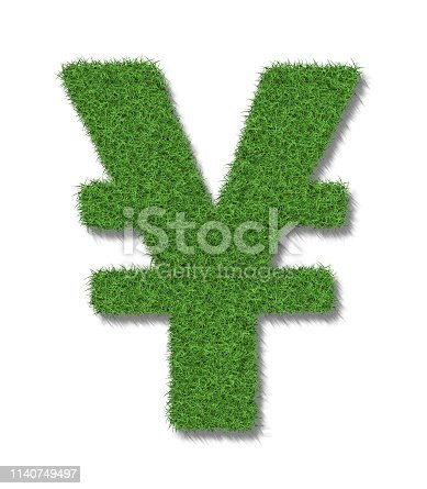 A yen sign in lush green grass on a white background