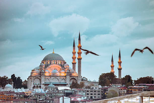 yeni camii - mosque in istanbul at dusk - eminonu district stockfoto's en -beelden