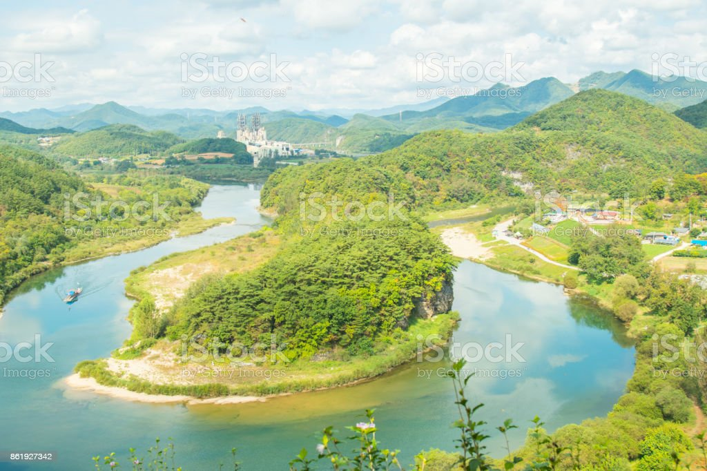 Yeongwol, Gangwon-do, Korea - Terrain on the Korean peninsula stock photo