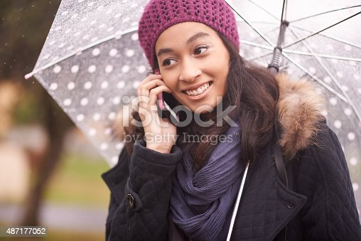 Shot of a young woman talking on her phone while out for a walk on a rainy dayhttp://195.154.178.81/DATA/i_collage/pu/shoots/805464.jpg