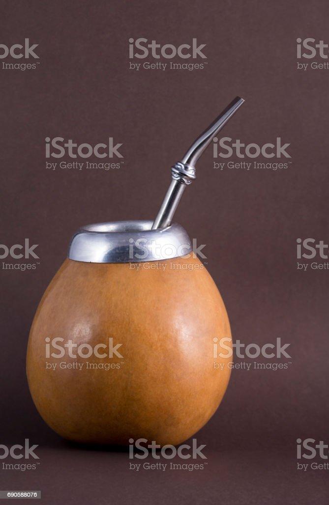 yerba mate in calabash stock photo