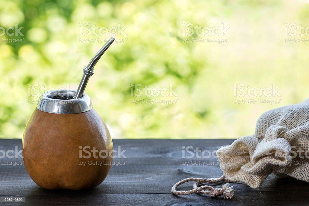 yerba mate in gourd matero with linen bag photo libre de droits