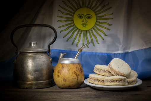 yerba mate with alfajores of cornstarch and sweet
