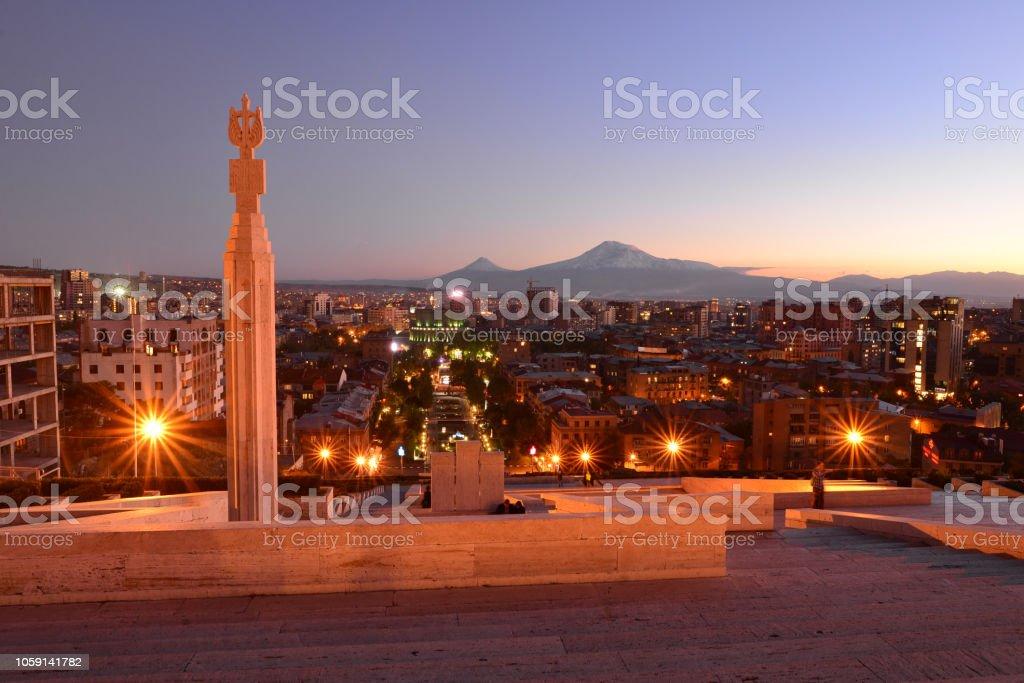 Yerevan and Mt. Ararat at night, Armenia stock photo