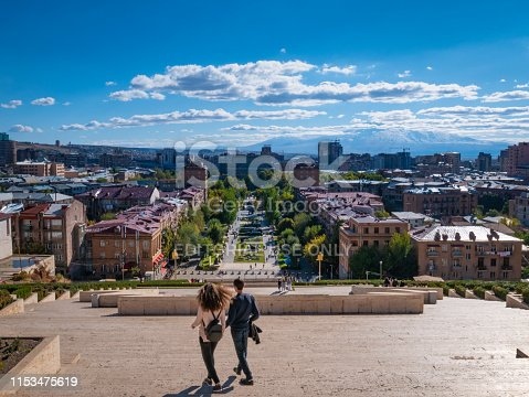 istock Yerevan, Armenia - Afternoon View of the city and Cascade Complex 1153475619