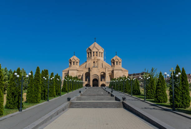 Yerevan, Armenia Yerevan, Armenia - squeezed between Russia and Turkey, Armenia is a wonderful mix of soviet heritage and orthodox landmarks, surrounded by a stunning nature. Here in particular the Saint Gregory the Illuminator Cathedral yerevan stock pictures, royalty-free photos & images