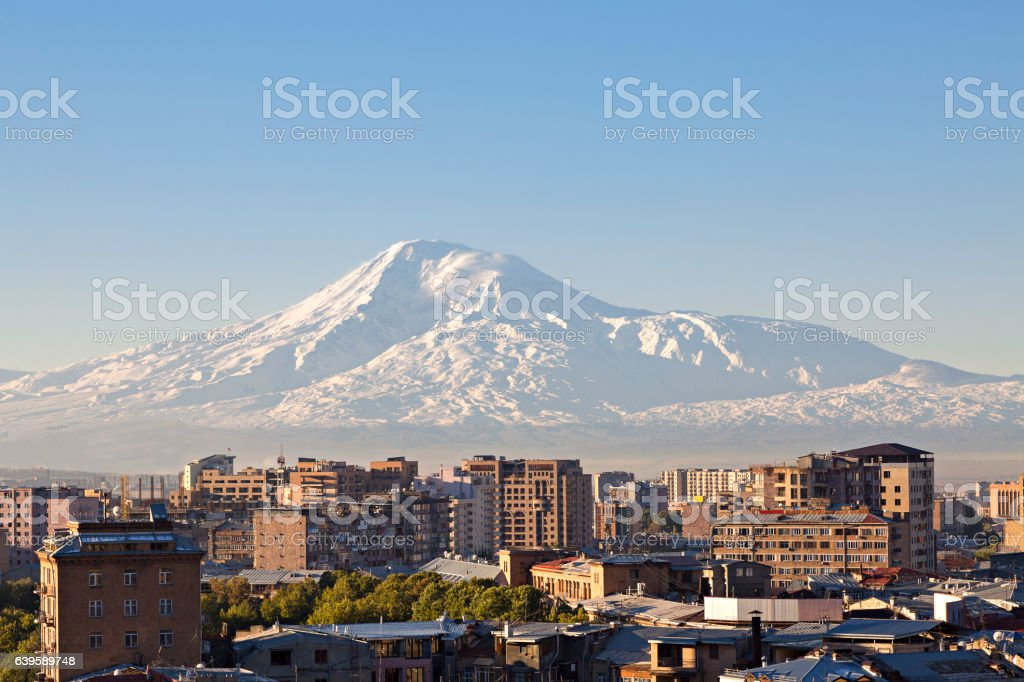 Yerevan, capital of Armenia and Mount Ararat on the background stock photo