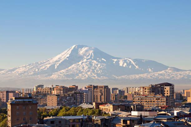 Yerevan, capital of Armenia and Mount Ararat on the background Yerevan, capital of Armenia and Mount Ararat on the background yerevan stock pictures, royalty-free photos & images