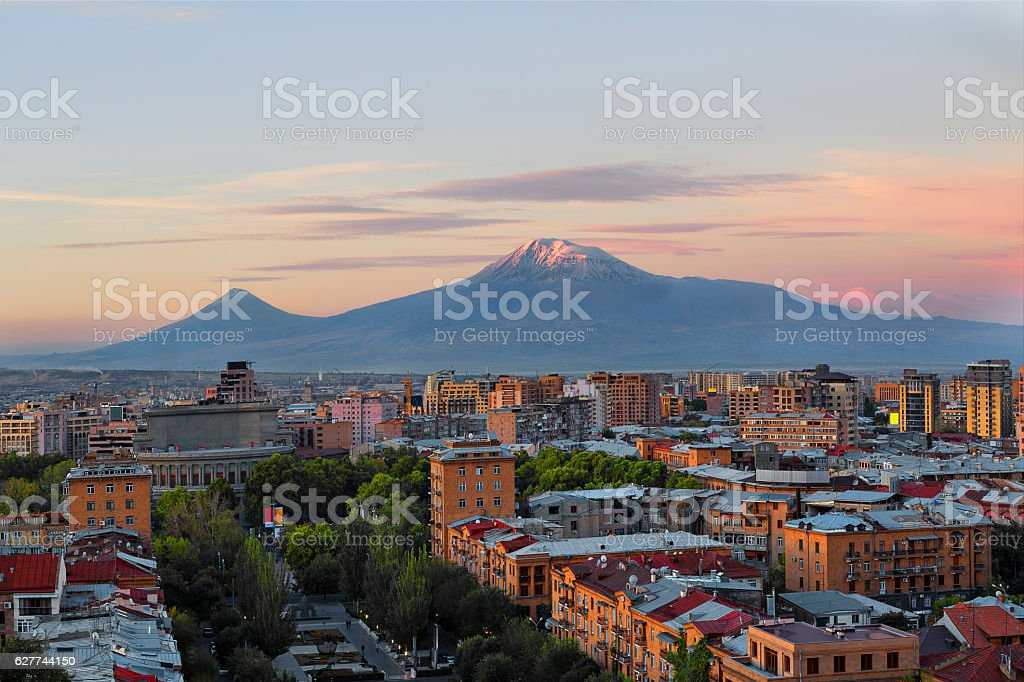 Yerevan, Capital of Armenia and the Mount Ararat stock photo