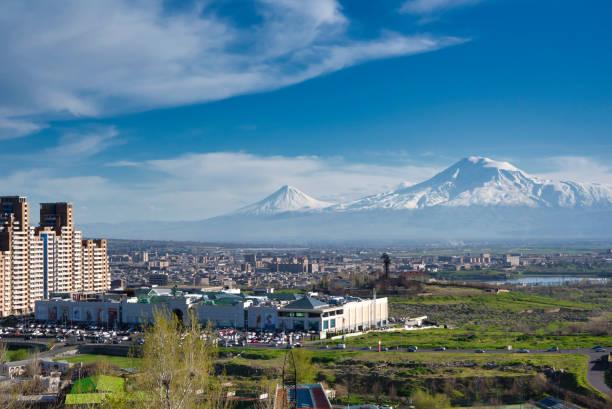 Yerevan, capital of Armenia in front of Mt. Ararat stock photo