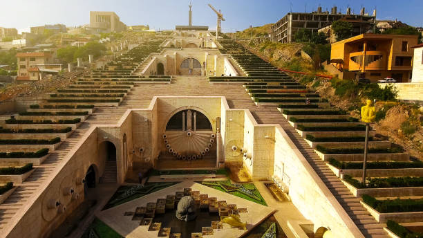 Yerevan Cascade giant stairway in Armenia, architecture, exciting aerial view Yerevan Cascade giant stairway in Armenia, architecture, exciting aerial view yerevan stock pictures, royalty-free photos & images