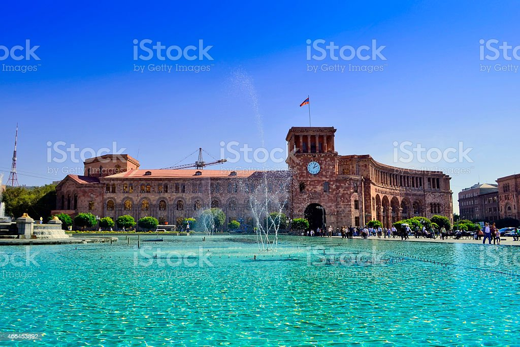 Yerevan, central plaza with fountains stock photo