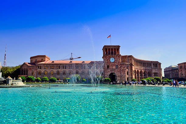 Yerevan, central plaza with fountains Yerevan city yerevan stock pictures, royalty-free photos & images