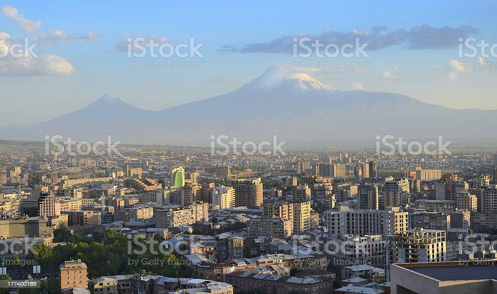 Yerevan panoramic picture at daytime stock photo
