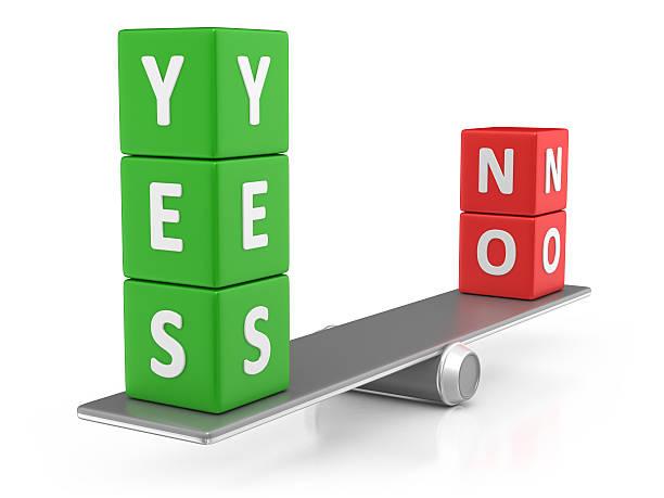 Yes and No Balance stock photo