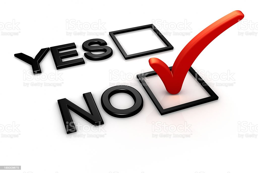 Yes and no boxes with red checkmark on no royalty-free stock photo