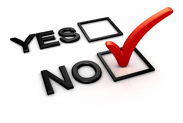 Yes and no boxes with red checkmark on no Yes and No options in a form and red check mark on No option box. single word no stock pictures, royalty-free photos & images