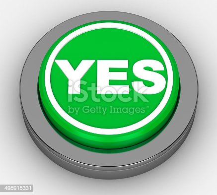 istock yes green button on a white background 495915331