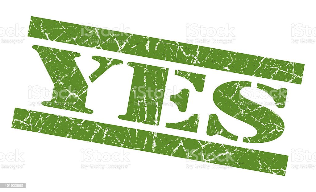 Yes green grunge stamp royalty-free stock photo