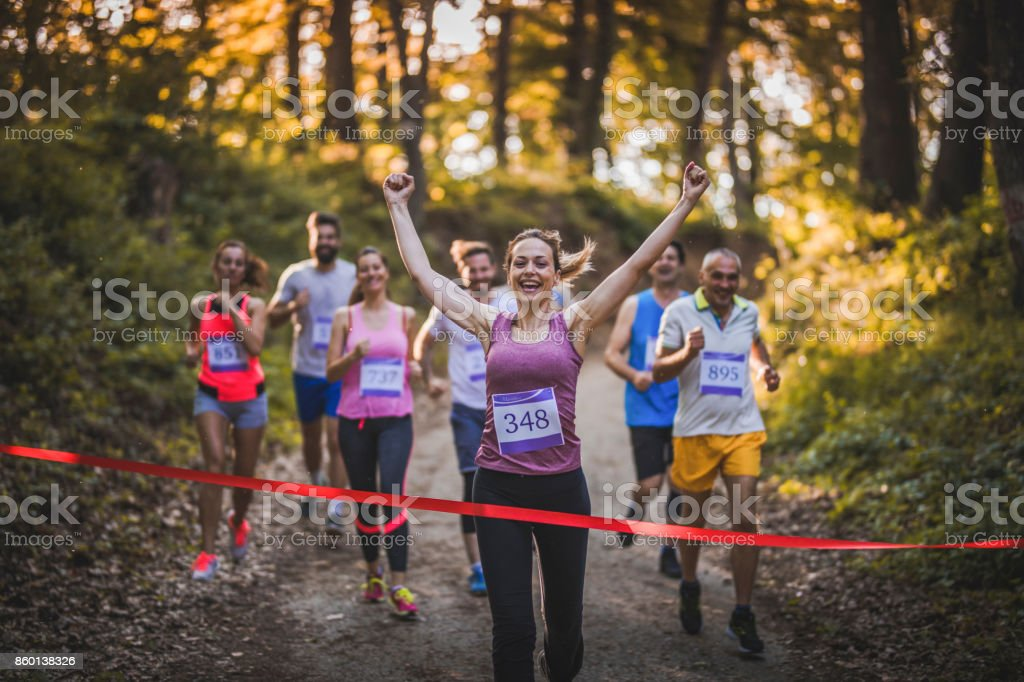 Yes, I have won the race! stock photo