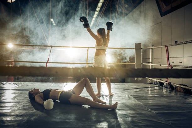Yes, I have won this match! stock photo