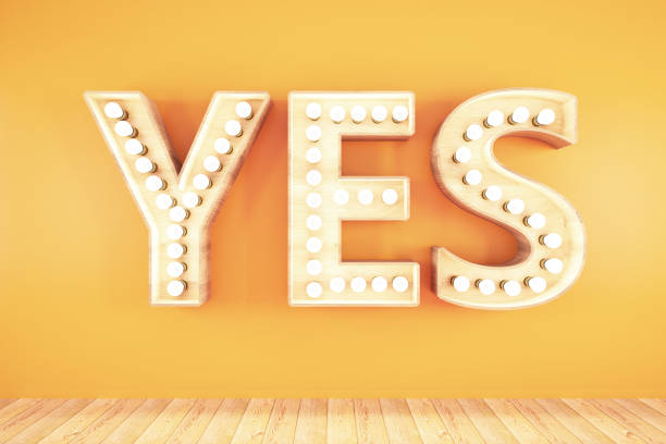 Yes Light Bulb Sign on Orange Background Yes Light Bulb Sign on Orange Background. 3D Render excited stock pictures, royalty-free photos & images
