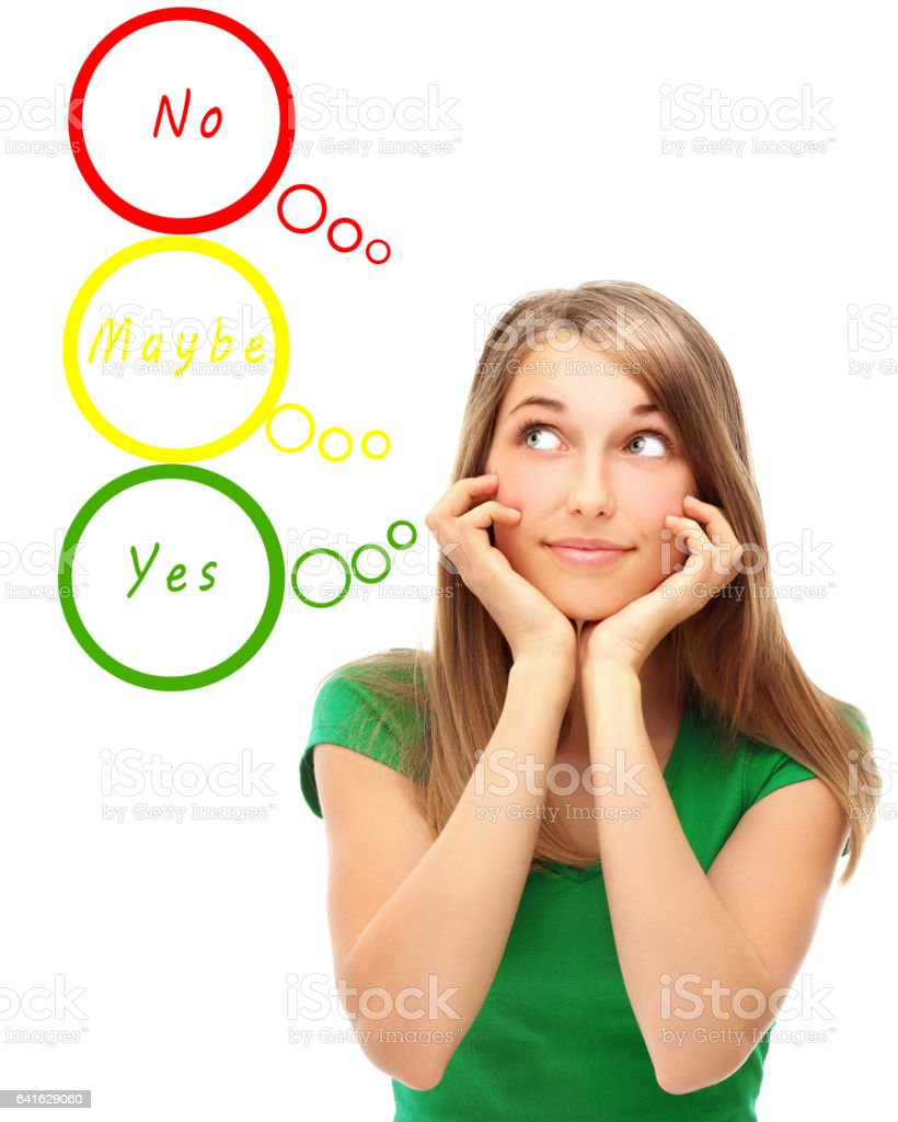 Yes No Maybe stock photo