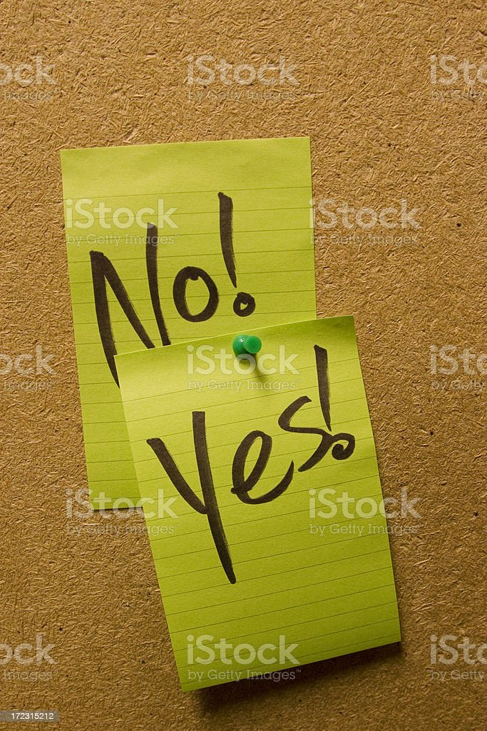 yes, no notes royalty-free stock photo