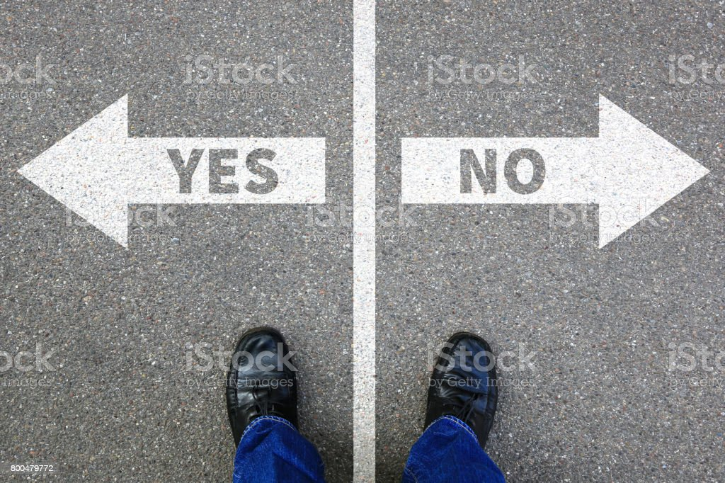 Yes no right wrong answer business concept solution decision decide stock photo