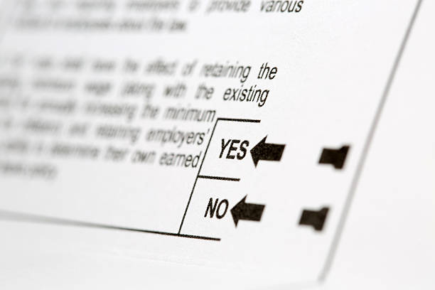 yes or no choice on voting ballot - ballot stock pictures, royalty-free photos & images
