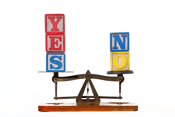 Yes or No Weighing up a decision. single word no stock pictures, royalty-free photos & images