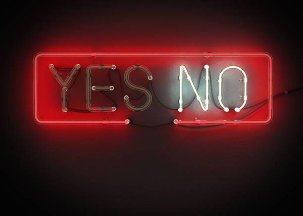 Yes or No sign made from neon alphabet. Yes or No sign made from neon alphabet on a black background. 3D illustration rejection stock pictures, royalty-free photos & images