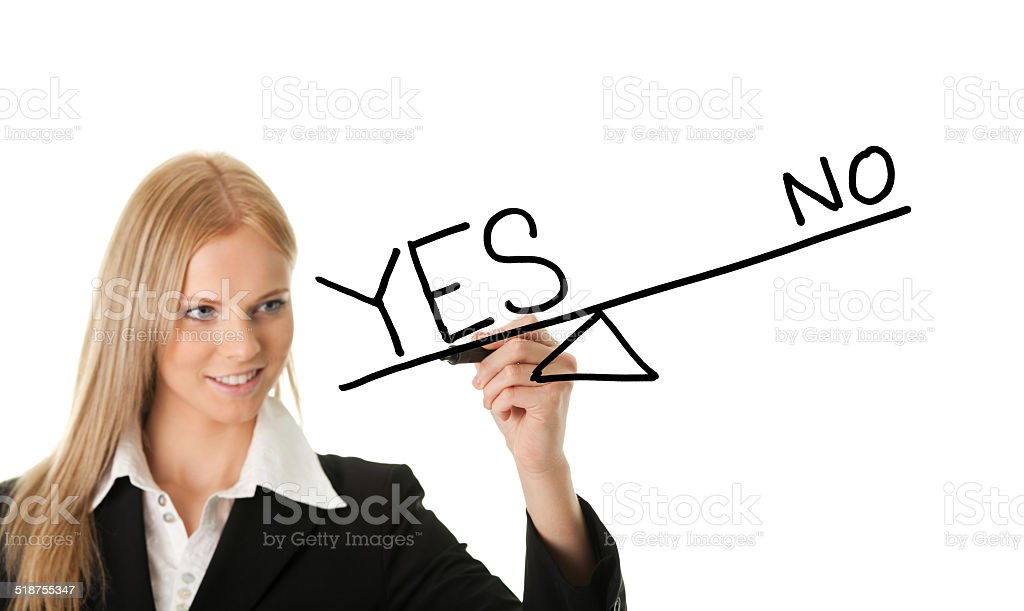 Yes overweighting no concept stock photo