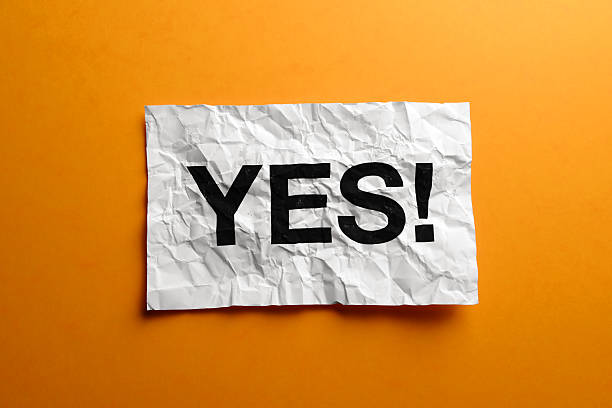 Yes sign on creased paper stock photo