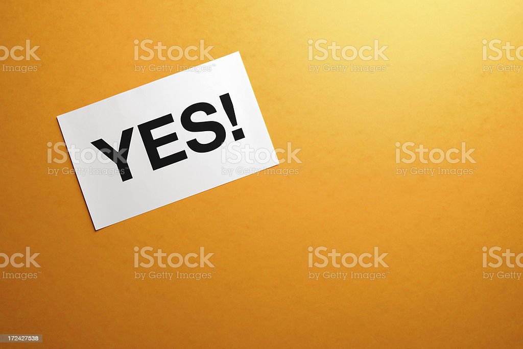 Yes sign on paper royalty-free stock photo