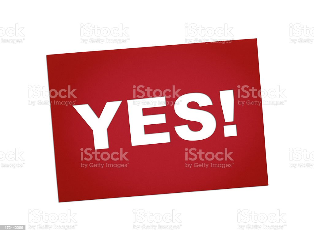 Yes sign on red card royalty-free stock photo