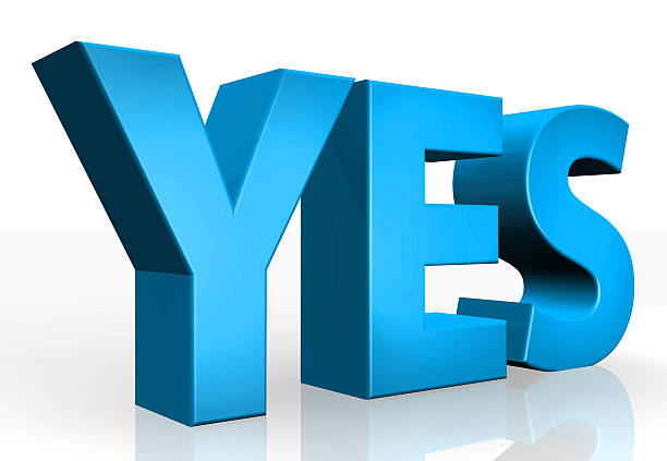 3D yes text on white background stock photo