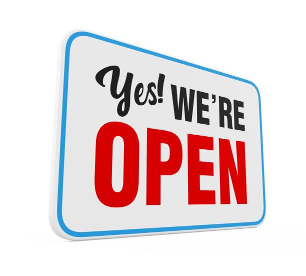 """""""yes we're open"""" zeichen isoliert - offen allgemeine beschaffenheit stock-fotos und bilder"""