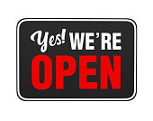 "istock ""Yes We're Open"" Sign Isolated 1189869351"