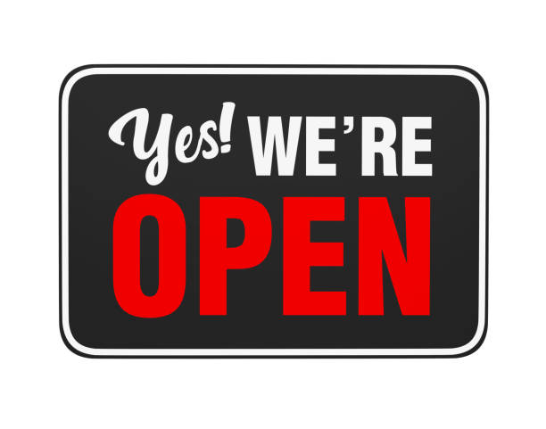 """yes we're open"" sign isolated - open sign stock pictures, royalty-free photos & images"