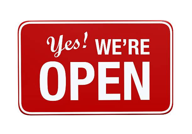 yes we're open sign - open sign stock pictures, royalty-free photos & images
