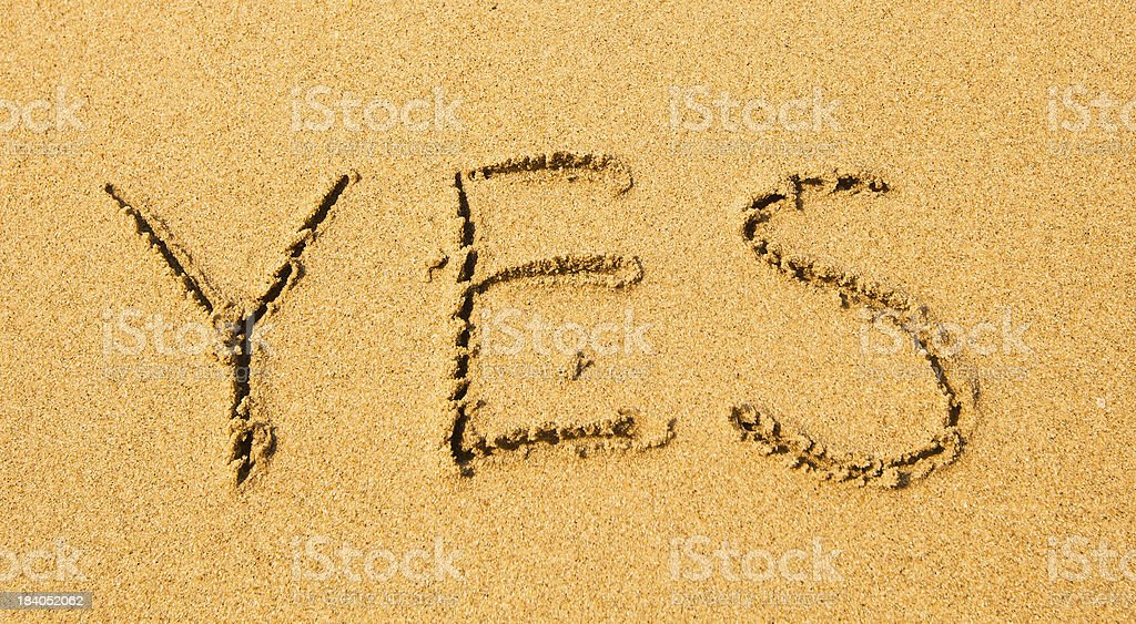 Yes - written in sand on beach texture. royalty-free stock photo